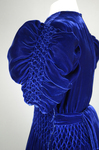 Dress, blue velvet with smocked waist and shoulders, 1938, detail of sleeve by Irma G. Bowen Historic Clothing Collection