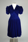 Dress, blue velvet with smocked waist and shoulders, 1938, front view by Irma G. Bowen Historic Clothing Collection