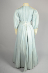 Dress, blue cotton with pouched bodice, tailored skirt, lace yoke, and matching belt, c. 1905, back view by Irma G. Bowen Historic Clothing Collection