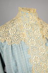 Dress, blue cotton with pouched bodice, tailored skirt, lace yoke, and matching belt, c. 1905, detail of bodice lace by Irma G. Bowen Historic Clothing Collection