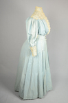 Dress, blue cotton with pouched bodice, tailored skirt, lace yoke, and matching belt, c. 1905, quarter view by Irma G. Bowen Historic Clothing Collection