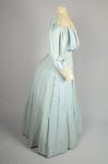Dress, blue cotton with pouched bodice, tailored skirt, lace yoke, and matching belt, c. 1905, side view by Irma G. Bowen Historic Clothing Collection