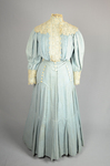 Dress, blue cotton with pouched bodice, tailored skirt, lace yoke, and matching belt, c. 1905, front view by Irma G. Bowen Historic Clothing Collection