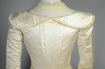 Wedding dress, cream silk satin and lace with long sleeves and a train, c. 1905, detail of bodice back by Irma G. Bowen Historic Clothing Collection