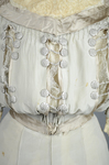 Wedding dress, pale green silk crepe with silver satin, pont d'esprit, and lace, with matching gray shoes with steel-cut beads, 1907, detail of bodice by Irma G. Bowen Historic Clothing Collection