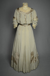Wedding dress, pale green silk crepe with silver satin, pont d'esprit, and lace, with matching gray shoes with steel-cut beads, 1907, front view by Irma G. Bowen Historic Clothing Collection