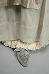 Wedding dress, pale green silk crepe with silver satin, pont d'esprit, and lace, with matching gray shoes with steel-cut beads, 1907, with matching shoes by Irma G. Bowen Historic Clothing Collection